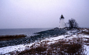 White Lighthouse Prints - New Haven Harbor Lighthouse Print by Skip Willits