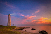 Lighthouse Sea Prints - New Haven Light Print by Michael Petrizzo