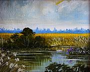 Waterscape Painting Posters - New Jersey Marsh Poster by Karon Melillo DeVega