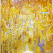Jerusalem Pastels Posters - New Jerusalem Poster by Beka Burns