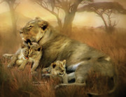 Lion Cubs Posters - New Life Poster by Carol Cavalaris