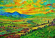 Mountain Valley Painting Framed Prints - New Mexican Sunset Framed Print by Michael Durst