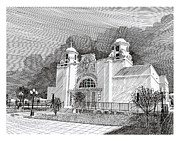 Mexico Drawings Framed Prints - New Mexico Churches Our Lady of Good Health Framed Print by Jack Pumphrey