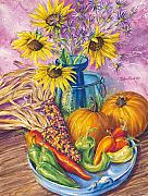 Pumpkins Paintings - New Mexico Harvest by John Rose