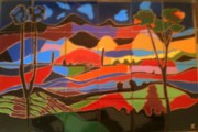 Landscape Ceramics Metal Prints - New Mexico Landscape Metal Print by Yana Yatsyk