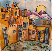 Southwest Tapestries - Textiles Prints - New Mexico memories Print by Yvonne Feavearyear