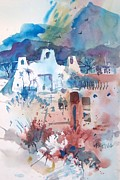 Watercolor Paintings - New Mexico Mission by Micheal Jones