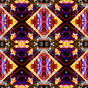 Patterned Digital Art Prints - New Mexico Neon Print by Glennis Siverson