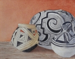 Pottery Paintings - New Mexico Still Life No. 2 Ancient Designs by Doug Goodale