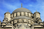 Religious Structure Framed Prints - New Mosque Domes in Istanbul Framed Print by Artur Bogacki