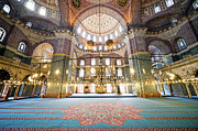 Artur Framed Prints - New Mosque Interior in Istanbul Framed Print by Artur Bogacki