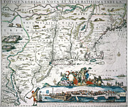 Hugo Framed Prints - New Netherland Map Framed Print by Granger