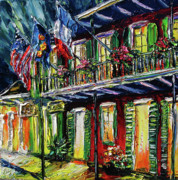 New Orleans Oil Paintings - New Orleans at Night Painting - Flags by Beata Sasik