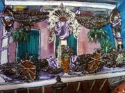 Mardi Gras Paintings - New Orleans Balcony At Mardi Gras by Crystal N Puckett
