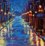 Cityscape Paintings - New Orleans Bourbon Street by Debra Hurd