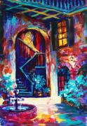 Playing Music Painting Originals - New Orleans Courtyard by Saundra Bolen Samuel
