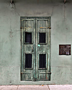 French Doors Posters - New Orleans Green Doors Poster by Perry Webster