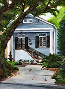 Suburban Paintings - New Orleans Home by Elaine Hodges