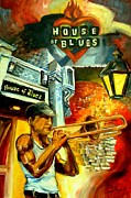 Trombone Posters - New Orleans House of Blues Poster by Diane Millsap