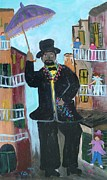 Mardi Gras Paintings - New Orleans Man by Mary Crochet