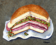 Sandwich Paintings - New Orleans Muffaletta by Elaine Hodges