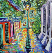 New Orleans Oil Painting Metal Prints - New Orleans Oil Painting - Pirates Alley Garden Metal Print by Beata Sasik