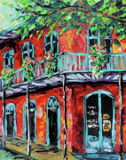 Rain Painting Framed Prints - New Orleans Oil painting - Red House Framed Print by Beata Sasik