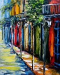 New Orleans Oil Paintings - New Orleans Oil Painting Balconies by Beata Sasik