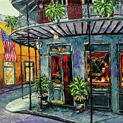 Royal Street Framed Prints - New Orleans Oil Painting Framed Print by Beata Sasik