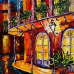 Courtyard Posters - New Orleans Original Oil Painting French Quarter Glow Poster by Beata Sasik