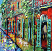 New Orleans Oil Painting Metal Prints - New Orleans Painting - Glowing Lanterns Metal Print by Beata Sasik