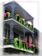 Old Town Digital Art Framed Prints - New Orleans Porches Framed Print by Joan  Minchak