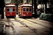 City Streets Prints - New Orleans Red Streetcars Print by Perry Webster