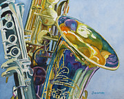 Green Painting Originals - New Orleans Reeds by Jenny Armitage