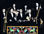 Trombone Drawings Posters - New Orleans Rhythm Kings Poster by Mel Thompson