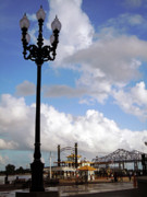 River. Clouds Framed Prints - New Orleans Riverwalk Framed Print by Joy Tudor
