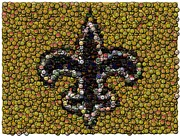 Saints Digital Art Posters - New Orleans Saints  Bottle Cap Mosaic Poster by Paul Van Scott