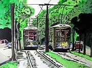 Trolley Paintings - New Orleans Street Cars by Cathy Jourdan