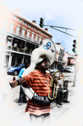 Band Digital Art Prints - New Orleans Street Musician - Tuba Man Print by Bill Cannon