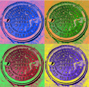 New Orleans Digital Art Posters - New Orleans Water Meter Cover Poster by L S Keely