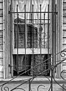 Window Bars Prints - New Orleans Window black and white Print by Kathleen K Parker