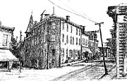 Town Drawings Originals - New Paltz Corner 1900 by Monica Cohen
