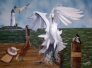 Egret Paintings - New Point Egret by Debbie LaFrance