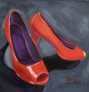 Open Toe Shoes Framed Prints - New Red Shoes Framed Print by Tracey Bautista