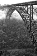 New River Valley Prints - New River Gorge Bridge Black and White Print by Thomas R Fletcher