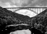 New River Prints - New River Gorge Bridge in West Virginia black and white Print by Brendan Reals
