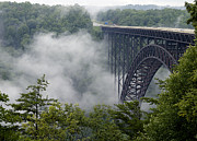 New River Valley Prints - New River Gorge Bridge on a Foggy Day in West Virginia Print by Brendan Reals