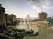 Boats On Water Framed Prints - New Rome with the Castel Sant Angelo Framed Print by Silvestr Fedosievich Shchedrin