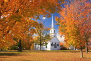 Meetinghouse Framed Prints - New Salem Common in Autumn Framed Print by John Burk