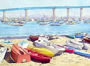 Bay Bridge Painting Metal Prints - New Tidelands Park Coronado Metal Print by Mary Helmreich